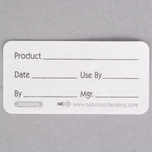 "National Checking Company DP12R 1"" x 2"" Dissolvable Product Label - 500/Roll"