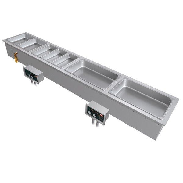 Hatco HWBI-S4M Slim Four Compartment Modular / Ganged Drop In Hot Food Well with Manifold Drain and Split Configuration - 240V, 3 Phase, 4815W
