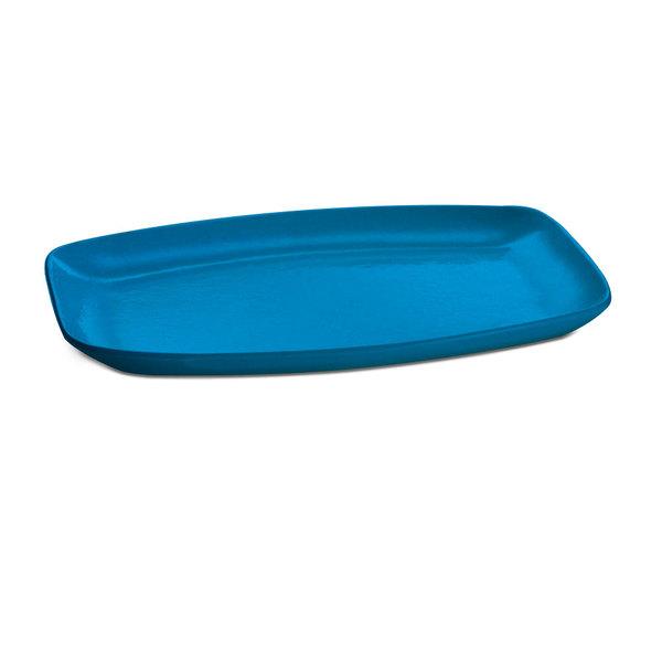 """Tablecraft CW1910SBL 15"""" x 11"""" Sky Blue Cast Aluminum Rectangle Fajita Plate Main Image 1"""