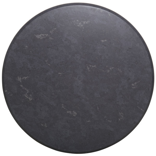 "BFM Seating GS24R SoHo 24"" Round Outdoor / Indoor Tabletop - Gray Slate"