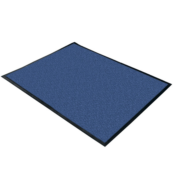 """Cactus Mat 1470F-4 4' Wide Special Cut Blue Machine Washable Rubber-Backed Carpet Mat - 3/8"""" Thick"""