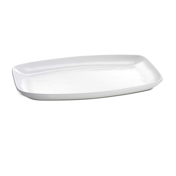 "Tablecraft CW1910W 15"" x 11"" White Cast Aluminum Rectangle Fajita Plate"