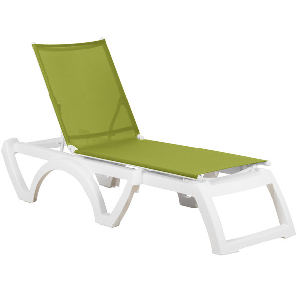 Pack of 2 Grosfillex US476152 / US746152 Calypso White / Fern Green Stacking Adjustable Resin Sling Chaise