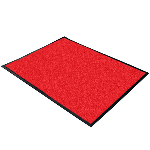 "Cactus Mat 1470M-35 3' x 5' Red Machine Washable Rubber-Backed Carpet Mat - 3/8"" Thick"