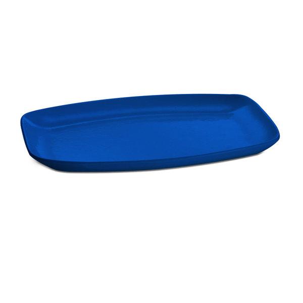 """Tablecraft CW1910CBL 15"""" x 11"""" Blue Cast Aluminum Rectangle Fajita Plate Main Image 1"""