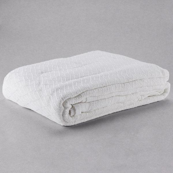 "100% Cotton Hotel Blanket - Thermal Herringbone - White Queen 90"" x 90"""