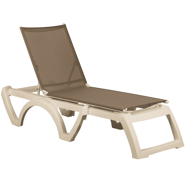 Grosfillex US366181 / US636181 Calypso Sandstone / Taupe Stacking Adjustable Resin Sling Chaise Main Image 1