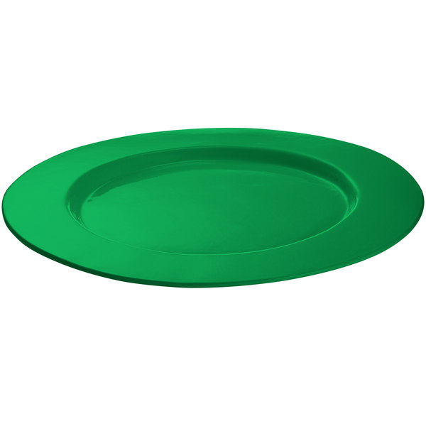 Tablecraft CW11004GN 16 inch Green Cast Aluminum Round Serving Plate