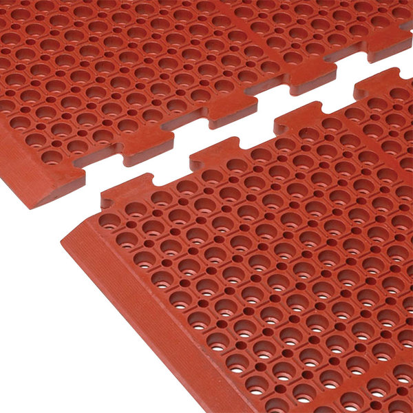 "Cactus Mat 4420-REWB VIP Duralok 3' 2"" x 5' 1"" Red End Interlocking Grease-Resistant Anti-Fatigue Anti-Slip Floor Mat with Beveled Edge - 3/4"" Thick Main Image 1"