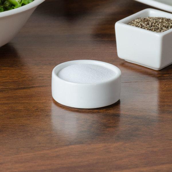 American Metalcraft PSLT17 0.6 oz. White Round Porcelain Salt and Pepper Dish