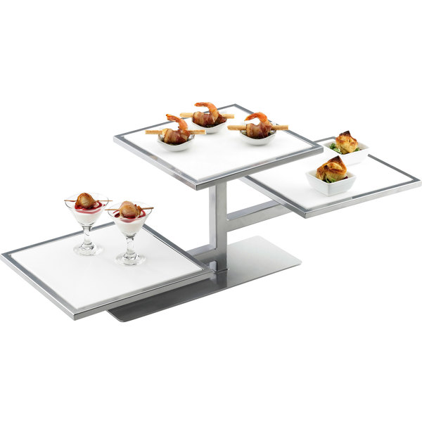 """Cal-Mil 1140-74 One By One Silver 3 Tier Riser Frame - 32 1/4"""" x 13"""" x 10 1/2"""""""