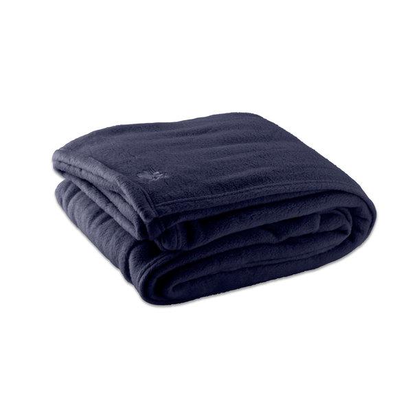 "Case of 4 Fleece Hotel Blanket - 100% Polyester - Navy Blue Twin 66"" x 90"""