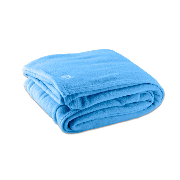 "Case of 4 Fleece Hotel Blanket - 100% Polyester - Light Blue Twin 66"" x 90"""