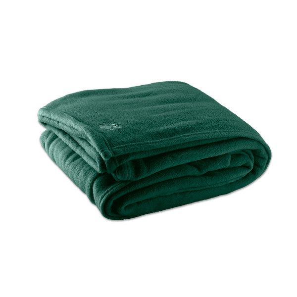 "Case of 4 Fleece Hotel Blanket - 100% Polyester - Jade Green Queen 90"" x 90"""
