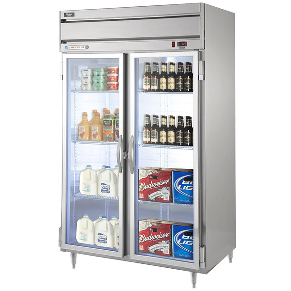 "Beverage-Air HRPS2-1G Horizon Series 52"" Glass Door All Stainless Steel Reach-In Refrigerator with LED Lighting Main Image 1"