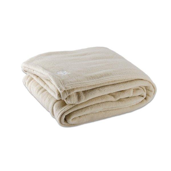 "Case of 4 Fleece Hotel Blanket - 100% Polyester - Vanilla Full 80"" x 90"""