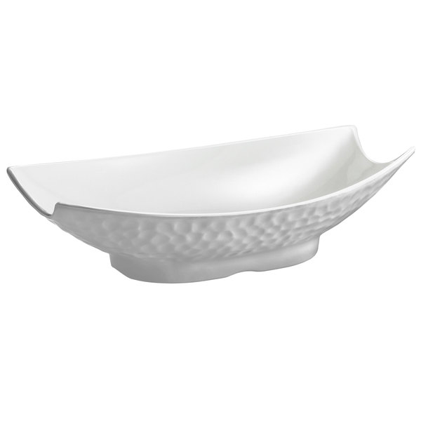 Tablecraft MB184 Frostone 3.8 Qt. White Pebbled Melamine Bowl