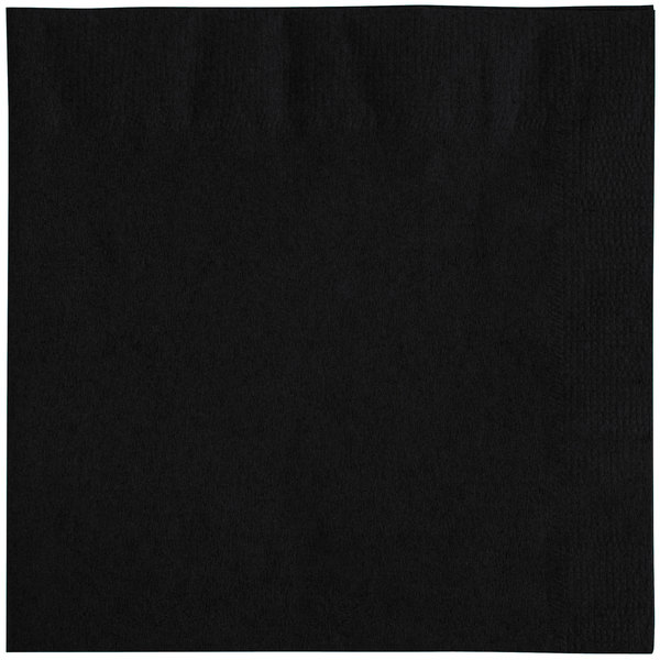Choice 10 inch x 10 inch Black 2-Ply Beverage / Cocktail Napkins - 250 / Pack