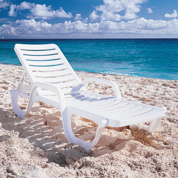Grosfillex 44031104 / 44031004 Bahia White Stacking Adjustable Resin Chaise