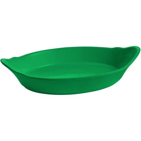 Tablecraft CW1710GN 28 oz. Green Oval Au Gratin Dish
