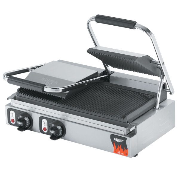 "Vollrath 40795-C 19"" x 9 1/8"" Grooved Top & Bottom Double Panini Sandwich Grill - 220V (Canadian Use Only)"