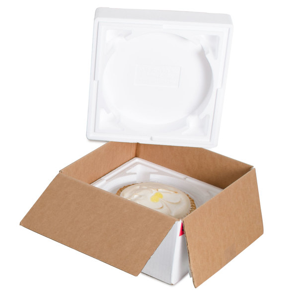 """Polar Tech 8"""" x 5"""" Thermo Chill Round Interior Pie / Cake / Pizza Insulated Shipping Container"""