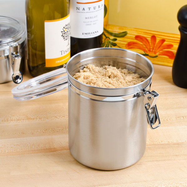 1.56 Qt. Stainless Steel Ingredient Storage Canister with Clear Plastic Lid