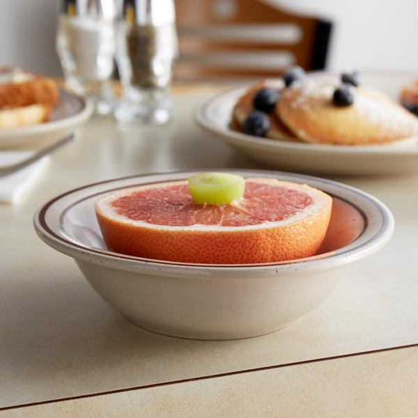 Choice 13 oz. Brown Speckle Narrow Rim Stoneware Grapefruit Bowl / Dish - 36/Case Main Image 3
