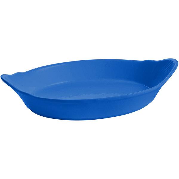 Tablecraft CW1710CBL 28 oz. Cobalt Blue Oval Au Gratin Dish