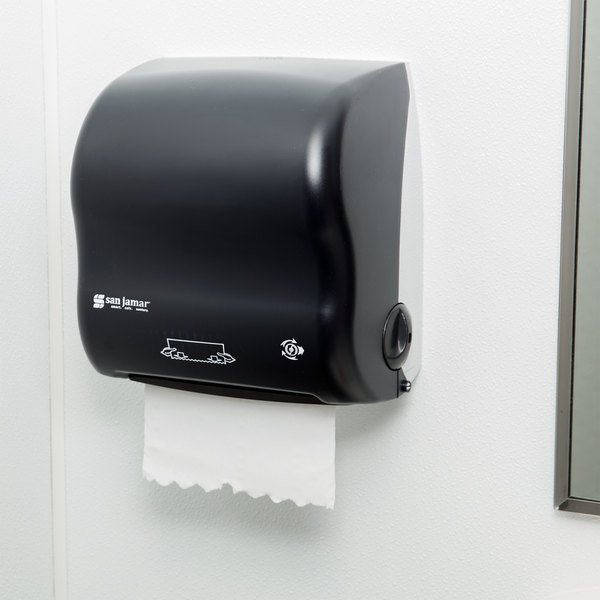San Jamar T7500TBK Simplicity Classic Compact Mechanical Hands Free Paper  Towel Dispenser   Black Pearl