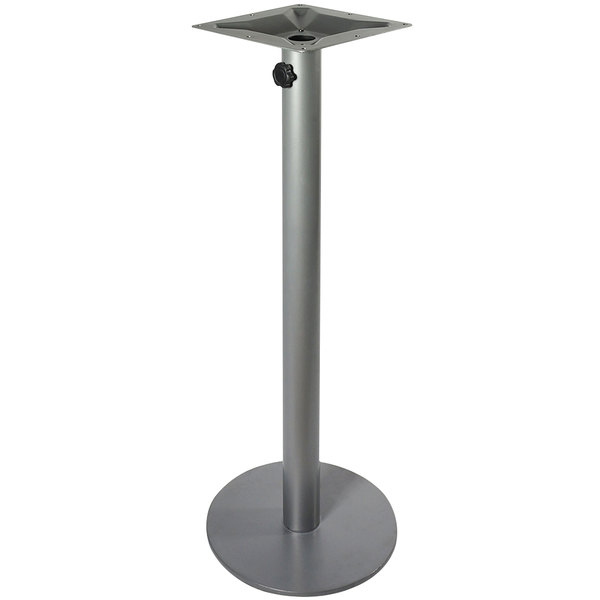 "BFM Seating PHTB18RSVT Margate Bar Height Outdoor / Indoor 18"" Silver Round Table Base with Umbrella Hole"