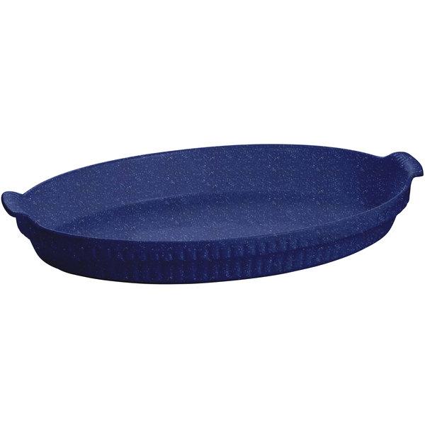 Tablecraft CW1390BS 2.75 Qt. Blue Speckle Cast Aluminum Large Shallow Oval Casserole Dish