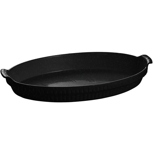 Tablecraft CW1390BKGS 2.75 Qt. Black with Green Speckle Cast Aluminum Large Shallow Oval Casserole Dish