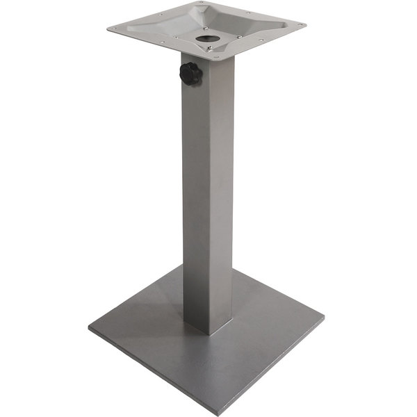 "BFM Seating PHTB20SQSV Margate Standard Height Outdoor / Indoor 20"" Silver Square Table Base with Umbrella Hole"