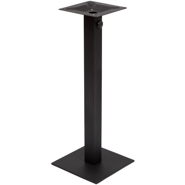"BFM Seating PHTB16SQBLT Margate Bar Height Outdoor / Indoor 16"" Black Square Table Base with Umbrella Hole"