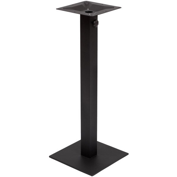"""BFM Seating PHTB16SQBLT Margate Bar Height Outdoor / Indoor 16"""" Black Square Table Base with Umbrella Hole Main Image 1"""