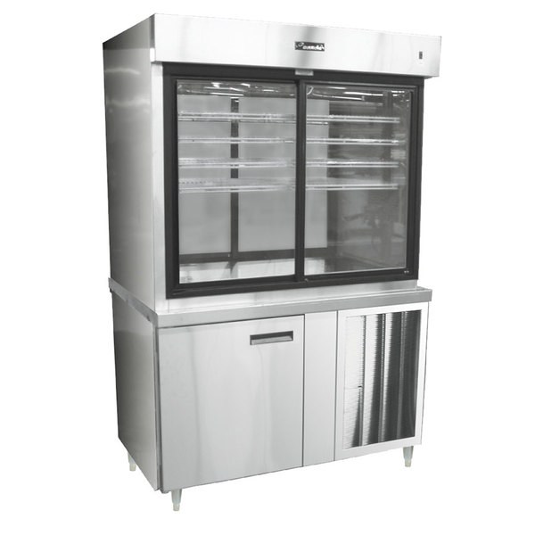 "Delfield F15PC48DV 48"" Refrigerated Display Case with Storage Base and Pass-Through Back Main Image 1"