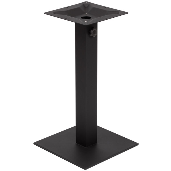 """BFM Seating PHTB16SQBL Margate Standard Height Outdoor / Indoor 16"""" Black Square Table Base with Umbrella Hole Main Image 1"""