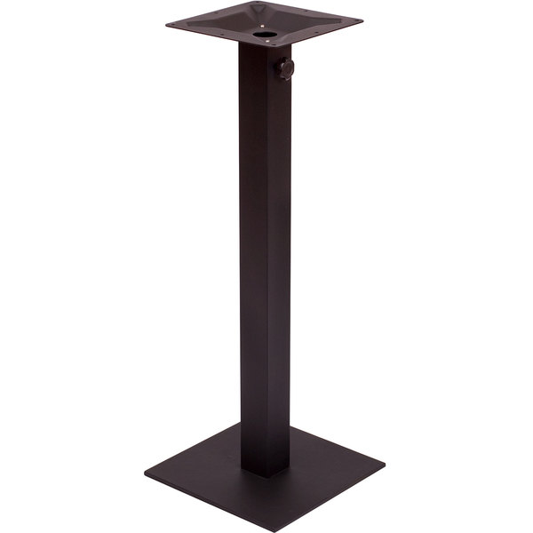 """BFM Seating PHTB20SQBLT Margate Bar Height Outdoor / Indoor 20"""" Black Square Table Base with Umbrella Hole"""