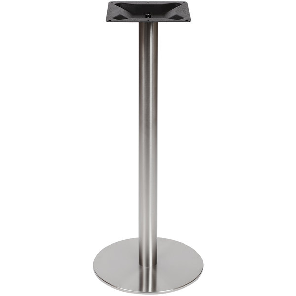 """BFM Seating PHTB18RSST Elite Bar Height Outdoor / Indoor 18"""" Brushed Stainless Steel Round Table Base Main Image 1"""