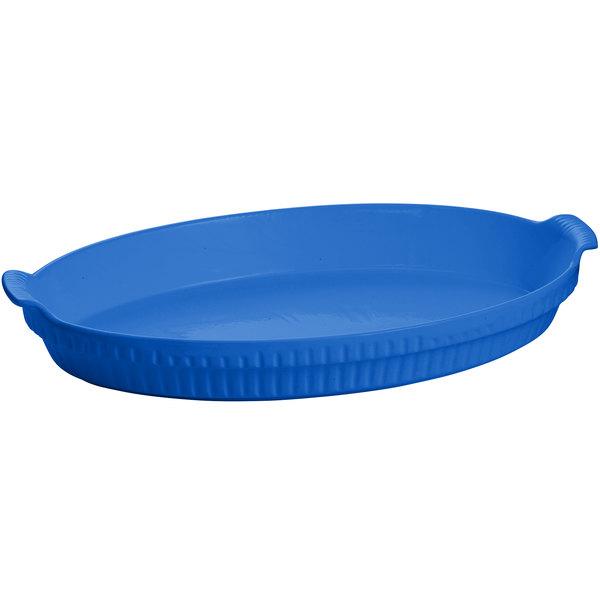 Tablecraft CW1390CBL 2.75 Qt. Cobalt Blue Cast Aluminum Large Shallow Oval Casserole Dish