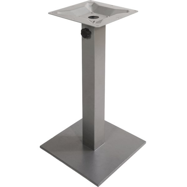 "BFM Seating PHTB18SQSV Margate Standard Height Outdoor / Indoor 18"" Silver Square Table Base with Umbrella Hole"