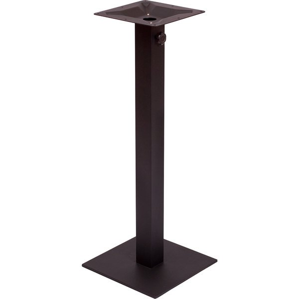 "BFM Seating PHTB18SQBLT Margate Bar Height Outdoor / Indoor 18"" Black Square Table Base with Umbrella Hole"