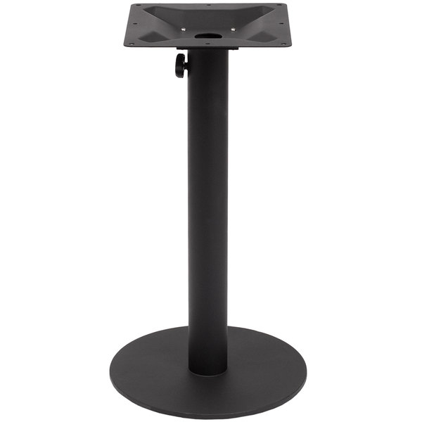 "BFM Seating PHTB16RBL Margate Standard Height Outdoor / Indoor 16"" Black Round Table Base with Umbrella Hole"