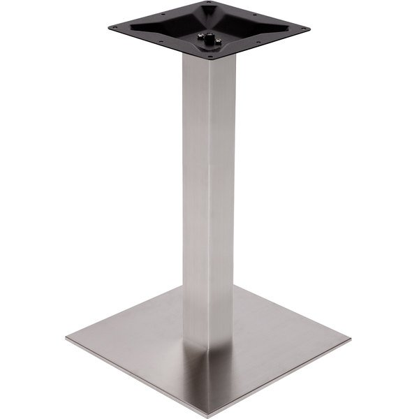 """BFM Seating PHTB24SQSS Elite Standard Height Outdoor / Indoor 24"""" Brushed Stainless Steel Square Table Base"""