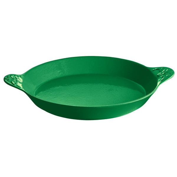 Tablecraft CW2140GN 3 Qt. Green Round Au Gratin Dish with Handles