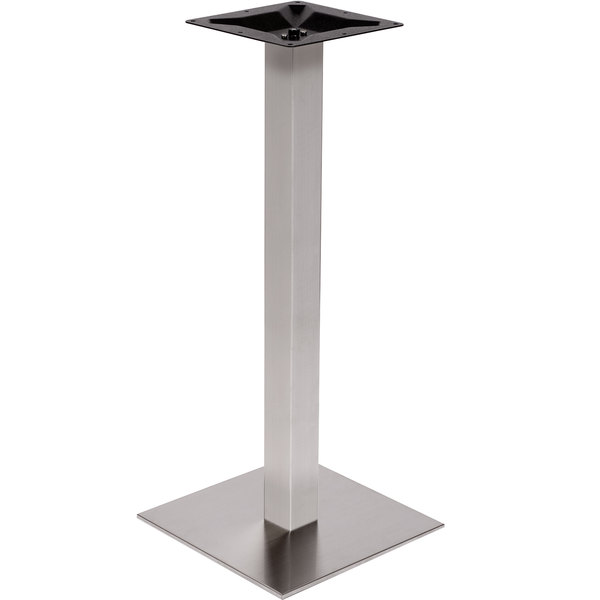 "BFM Seating PHTB24SQSST Elite Bar Height Outdoor / Indoor 24"" Brushed Stainless Steel Square Table Base Main Image 1"