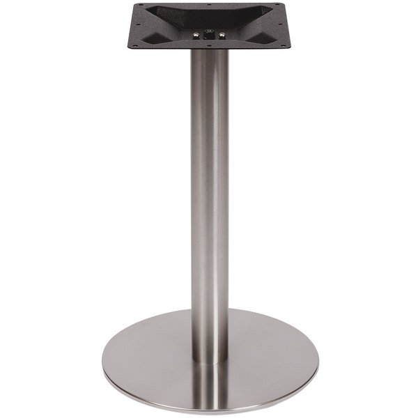 """BFM Seating PHTB24RSS Elite Standard Height Outdoor / Indoor 24"""" Brushed Stainless Steel Round Table Base Main Image 1"""