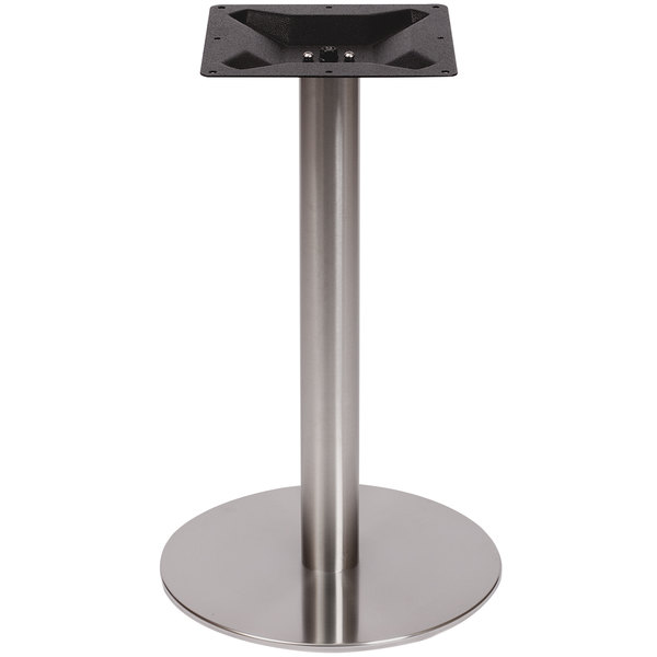"BFM Seating PHTB24RSS Elite Standard Height Outdoor / Indoor 24"" Brushed Stainless Steel Round Table Base"