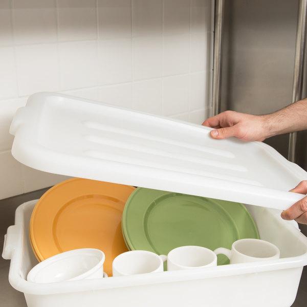 "Tablecraft F1531 White 21"" X 16 1/4"" Polypropylene Freezer Safe Bus Tub / Food Storage Box Cover Main Image 7"